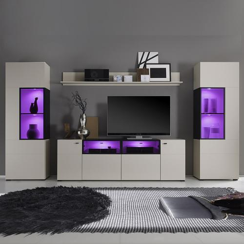 Neu moderne wohnwand kashmir matt tv hifi rack mediawand anbauwand schrankwand ebay - Moderne anbauwand ...