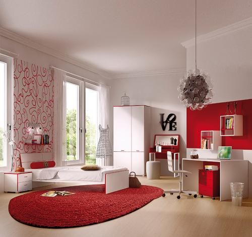 neu komplett jugendzimmer kinderzimmer wei rot. Black Bedroom Furniture Sets. Home Design Ideas