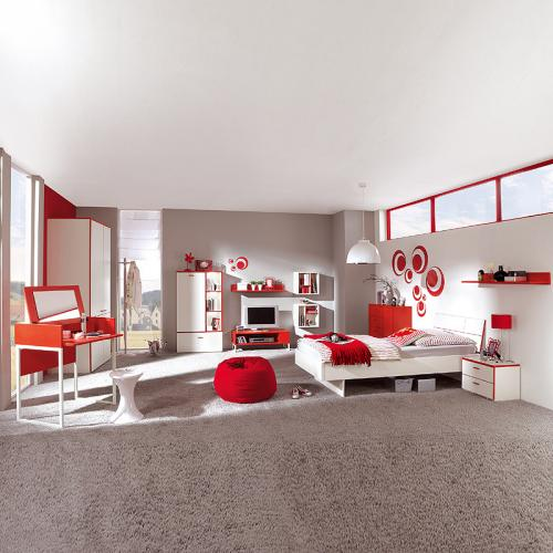 neu komplett jugendzimmer kinderzimmer wei rot kleiderschrank bett schminktisch ebay. Black Bedroom Furniture Sets. Home Design Ideas