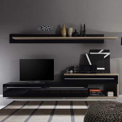 neu mediawand in hochglanz schwarz tv hifi rack wohnwand anbauwand schrankwand ebay. Black Bedroom Furniture Sets. Home Design Ideas