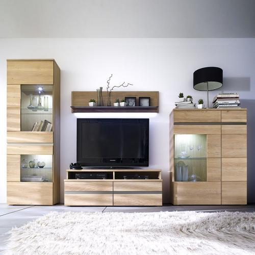 neu wohnwand eiche massiv edelstahl anbauwand tv hifi rack mediawand schrankwand ebay. Black Bedroom Furniture Sets. Home Design Ideas