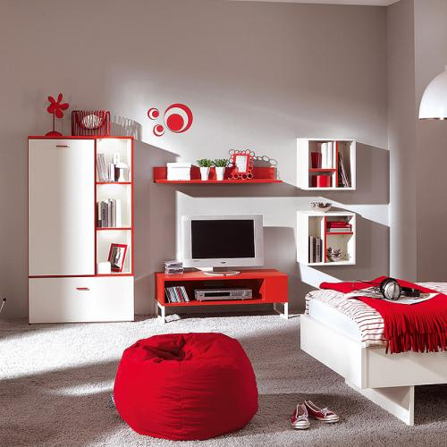 neu jugendzimmer wohnwand wei rot tv lowboard. Black Bedroom Furniture Sets. Home Design Ideas