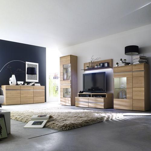 neu wohnwand sideboard eiche massiv edelstahl anbauwand wohnzimmer schrankwand ebay. Black Bedroom Furniture Sets. Home Design Ideas