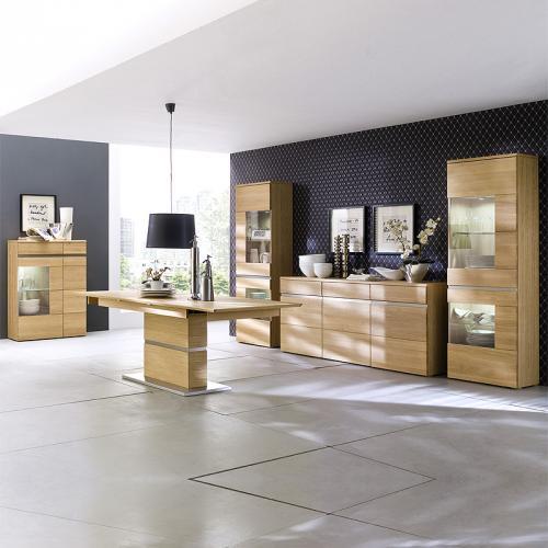 neu esszimmer set vitrinen sideboard 230cm ausziehtisch eiche massiv highboard ebay. Black Bedroom Furniture Sets. Home Design Ideas