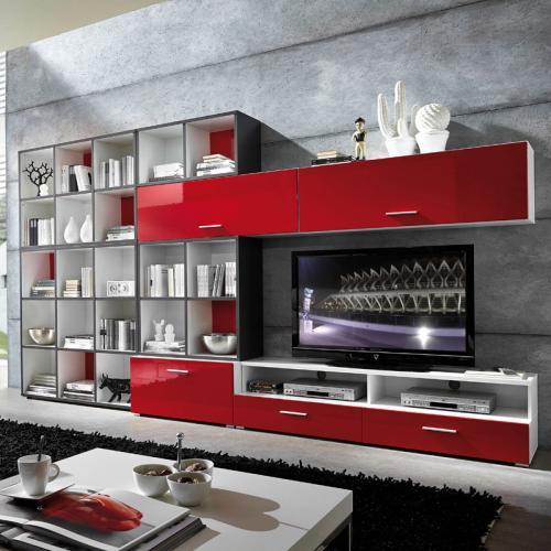 Neu wohnwand hochglanz rot wei tv hifi rack mediawand for Wohnwand rot