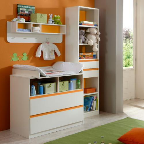 top babyzimmer set wei orange wickelkommode kleiderschrank kinderzimmer schrank ebay. Black Bedroom Furniture Sets. Home Design Ideas