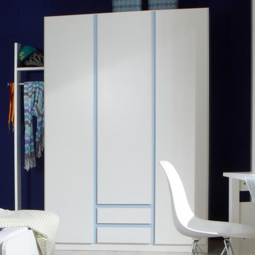 Neu jugendzimmer kleiderschrank mit garderobe wei blau for Garderobe mit schrank