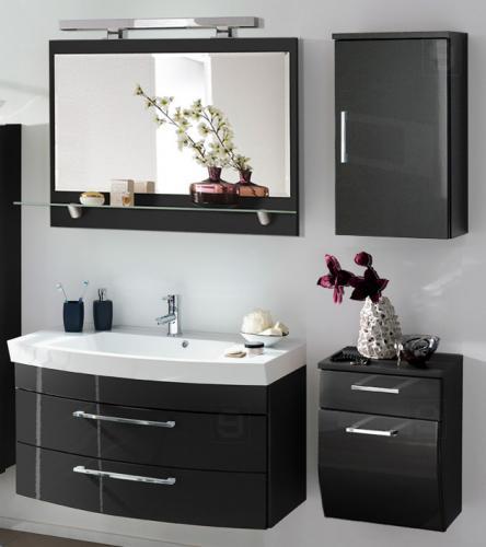 neu komplett badm bel set hochglanz anthrazit waschplatz badezimmer waschtisch ebay. Black Bedroom Furniture Sets. Home Design Ideas