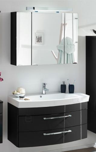 neu badezimmer waschplatz hochglanz anthrazit badm bel waschtisch spiegelschrank ebay. Black Bedroom Furniture Sets. Home Design Ideas