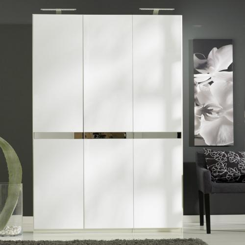 neu 150cm kleiderschrank hochglanz wei grau schlafzimmerschrank flurschrank ebay. Black Bedroom Furniture Sets. Home Design Ideas