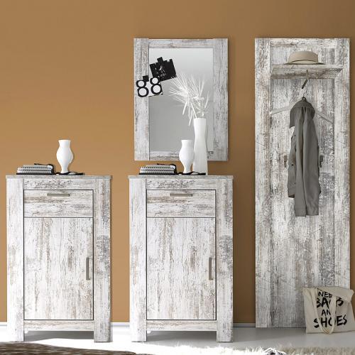 neu komplett flur garderoben set vintage pine schuhschrank spiegel wandgarderobe ebay. Black Bedroom Furniture Sets. Home Design Ideas