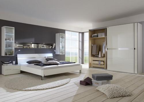 WOW-Komplett-Schlafzimmer-Hochglanz-weiss-Kleiderschrank-Futonbett-LED ...