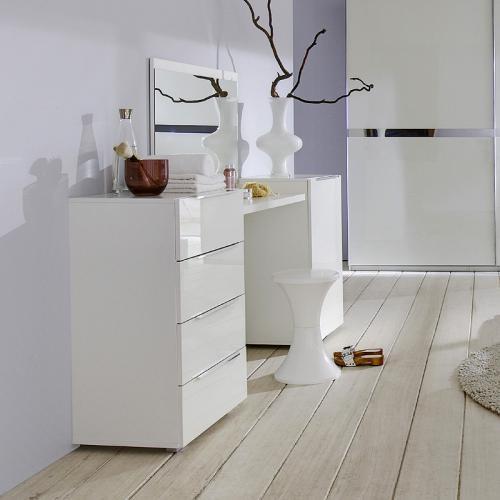 wow 4tlg schminktisch set hochglanz wei schminkplatz. Black Bedroom Furniture Sets. Home Design Ideas
