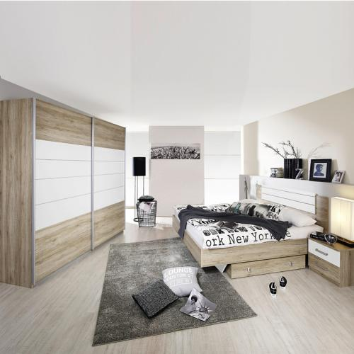 komplett schlafzimmer eiche sanremo 225cm kleiderschrank. Black Bedroom Furniture Sets. Home Design Ideas