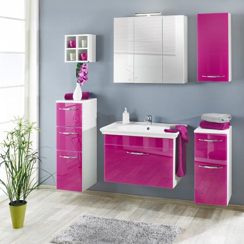 wow komplett badset glasfront pink wei badblock. Black Bedroom Furniture Sets. Home Design Ideas