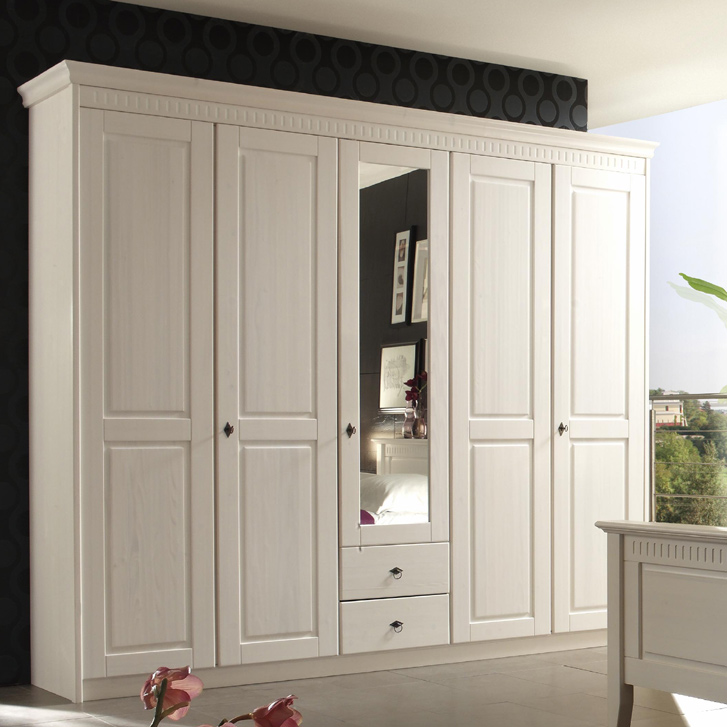 250cm landhaus kleiderschrank massiv wei schlafzimmerschrank flurschrank ebay. Black Bedroom Furniture Sets. Home Design Ideas