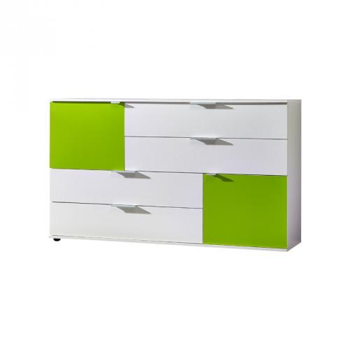 wohnzimmer grün weiß:Sideboard Kommode weiß – grün Wohnzimmer Schrank Flurschrank