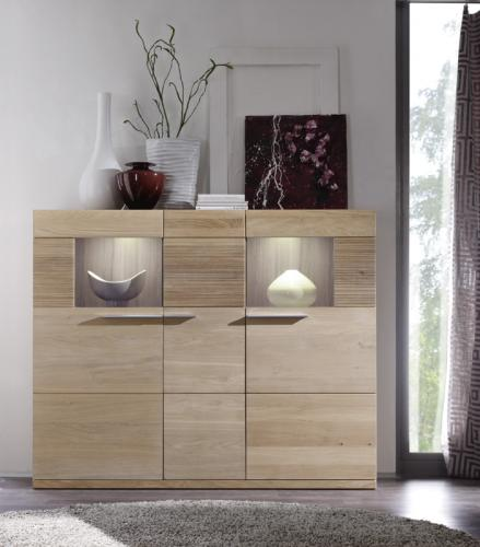 top modernes highboard in eiche bianco led wohnzimmer wohnzimmerschrank schrank ebay. Black Bedroom Furniture Sets. Home Design Ideas