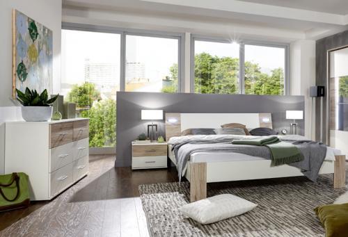 komplett schlafzimmer set wei eiche futonbett. Black Bedroom Furniture Sets. Home Design Ideas