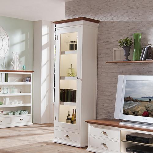 landhaus vitrine massiv weiss bernstein wohnzimmer. Black Bedroom Furniture Sets. Home Design Ideas