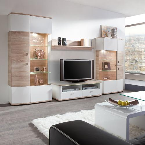 neu wohnzimmer wohnwand hochglanz wei eiche led. Black Bedroom Furniture Sets. Home Design Ideas