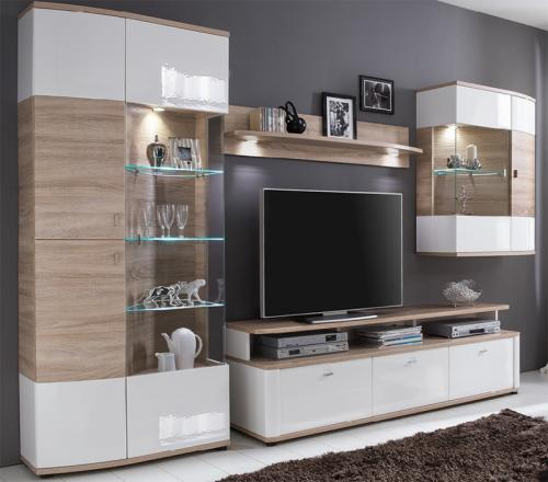 wohnwand hochglanz wei eiche s gerau wohnzimmer schrank anbauwand schrankwand ebay. Black Bedroom Furniture Sets. Home Design Ideas