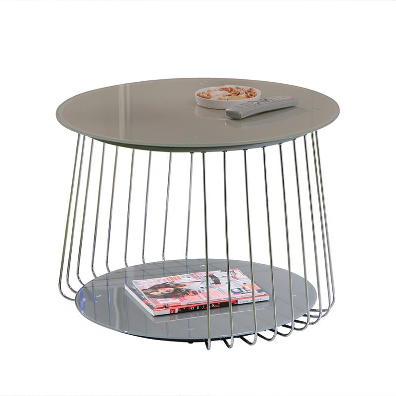 Wohnzimmermöbel Cappuccino: Couchtisch Glastisch 70cm Cappuccino Beistelltisch