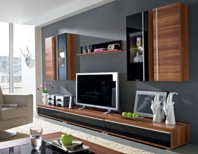 edle wohnwand lowboard walnuss schwarze glasfront 8tlg ebay. Black Bedroom Furniture Sets. Home Design Ideas