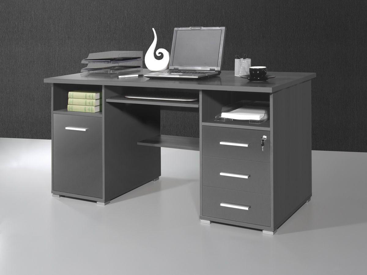 top computertisch b ro schreibtisch pc tisch anthrazit b rotisch tastaturauszug ebay. Black Bedroom Furniture Sets. Home Design Ideas
