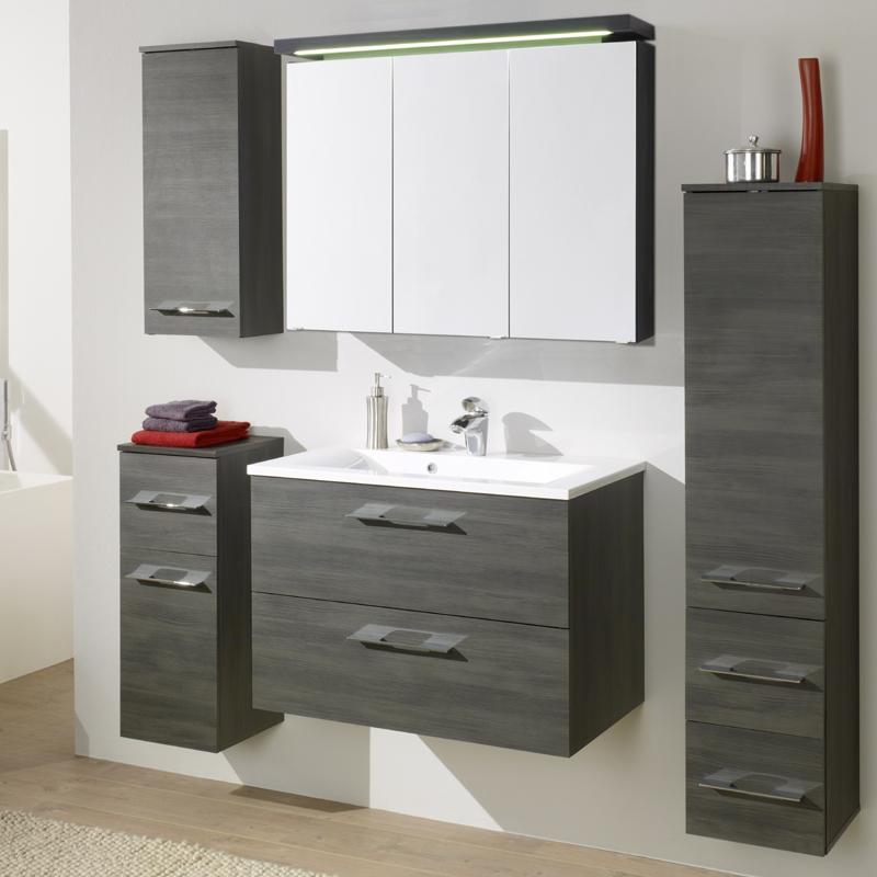 badezimmer spiegelschrank graphit struktur badschrank badm bel schrank spiegel ebay. Black Bedroom Furniture Sets. Home Design Ideas