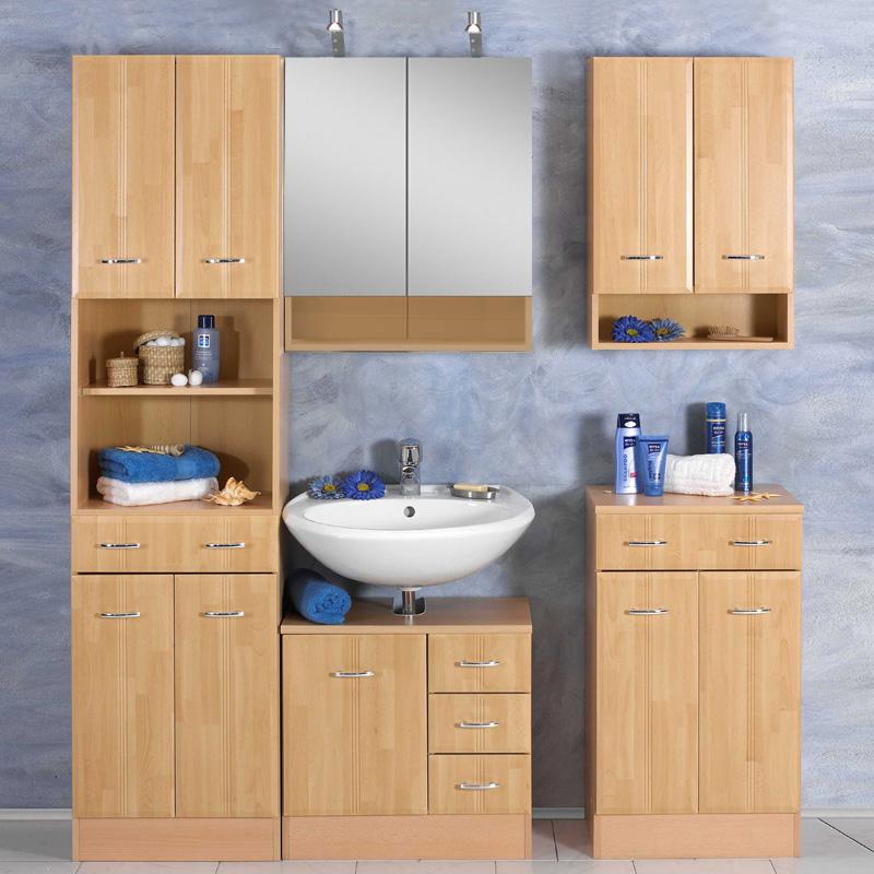 badezimmer hochschrank buche badm bel bad badezimmerschrank schrank badschrank. Black Bedroom Furniture Sets. Home Design Ideas