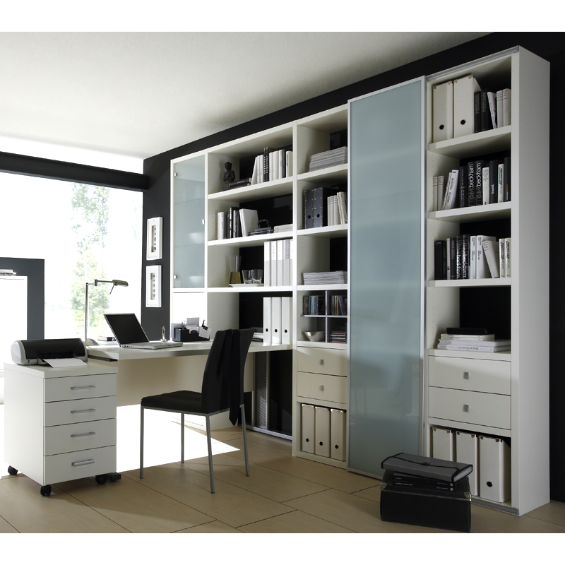 wohnwand schreibtisch container lack wei b cherregal. Black Bedroom Furniture Sets. Home Design Ideas