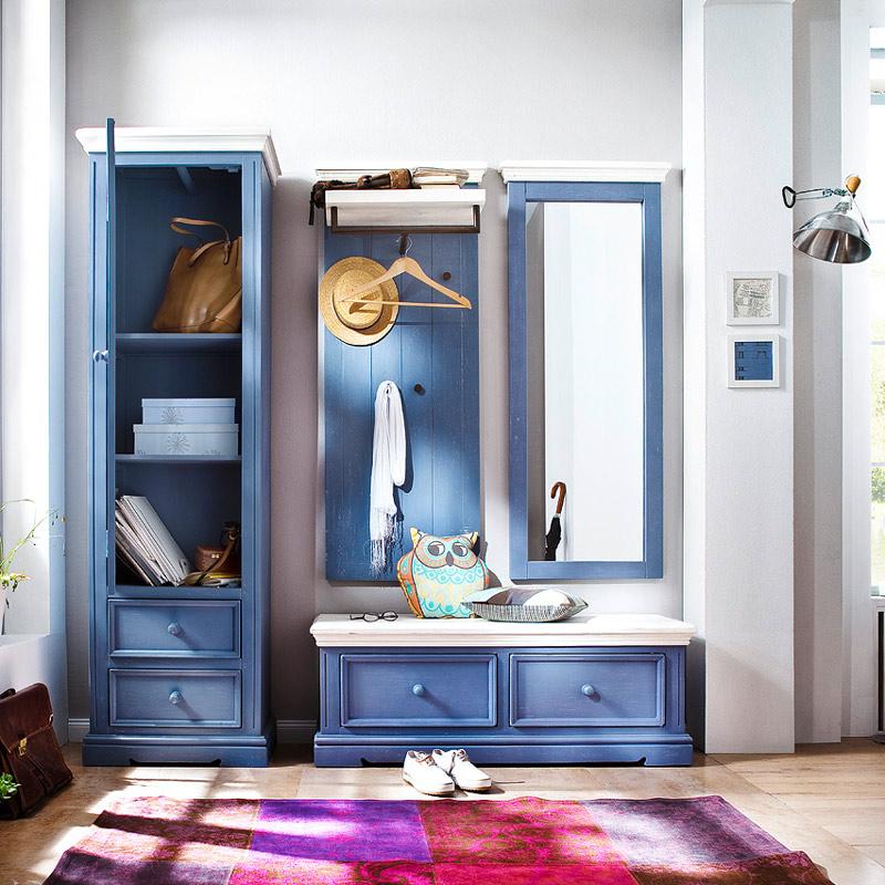 garderoben set blau wei flurgarderobe kleiderschrank garderobenbank flurm bel ebay. Black Bedroom Furniture Sets. Home Design Ideas