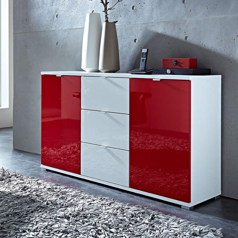 sideboard hochglanz wei rot kommode flurschrank flurm bel. Black Bedroom Furniture Sets. Home Design Ideas