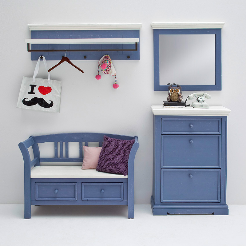 landhaus garderobenbank massiv blau wei flurm bel dielenm bel flurbank ebay. Black Bedroom Furniture Sets. Home Design Ideas