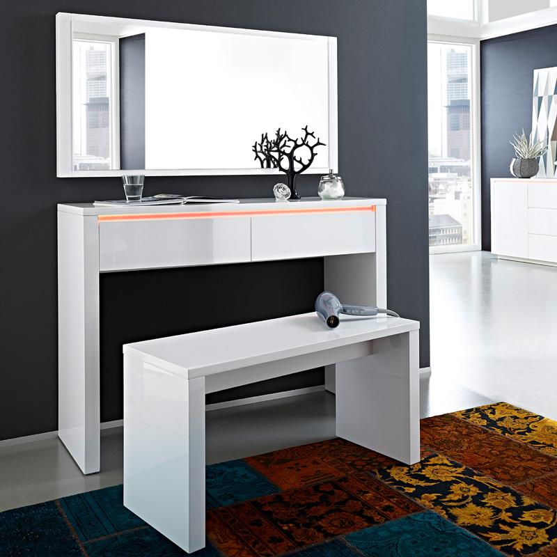 schminktisch set hochglanz wei sitzbank konsole. Black Bedroom Furniture Sets. Home Design Ideas