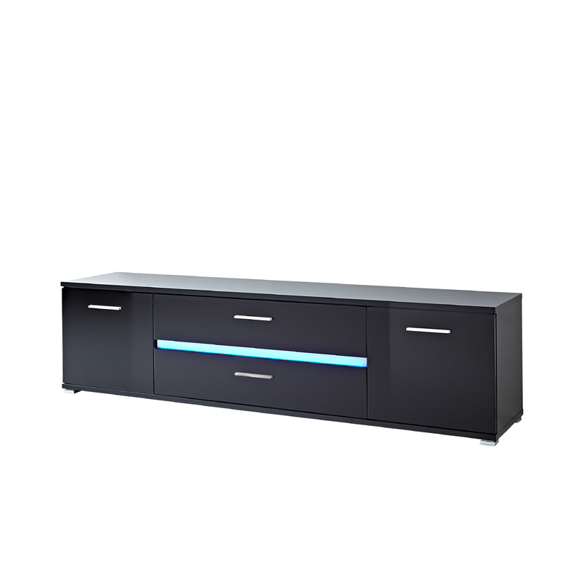 lowboard hochglanz schwarz led fernsehtisch hifi rack wohnzimmer fernsehschrank ebay. Black Bedroom Furniture Sets. Home Design Ideas