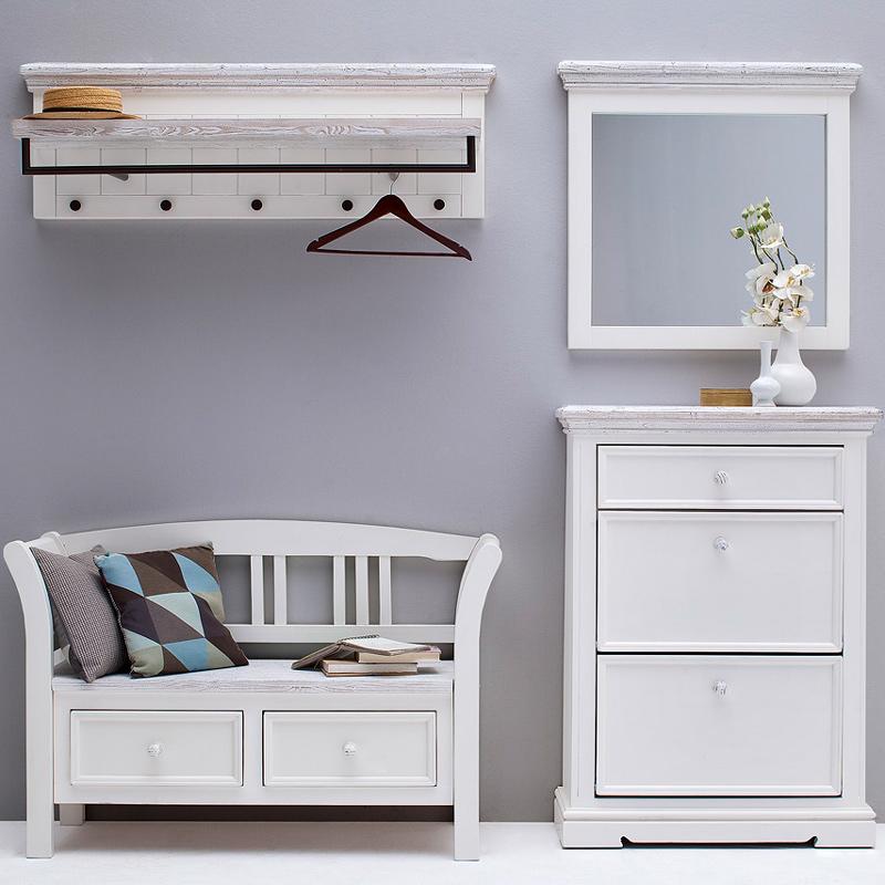 landhaus garderobenbank massiv sandwei flurm bel. Black Bedroom Furniture Sets. Home Design Ideas