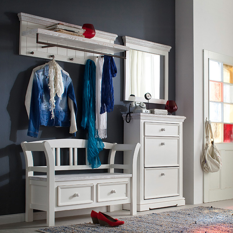 landhaus garderobe massiv wei flurgarderobe hutablage wandgarderobe paneel flur ebay. Black Bedroom Furniture Sets. Home Design Ideas