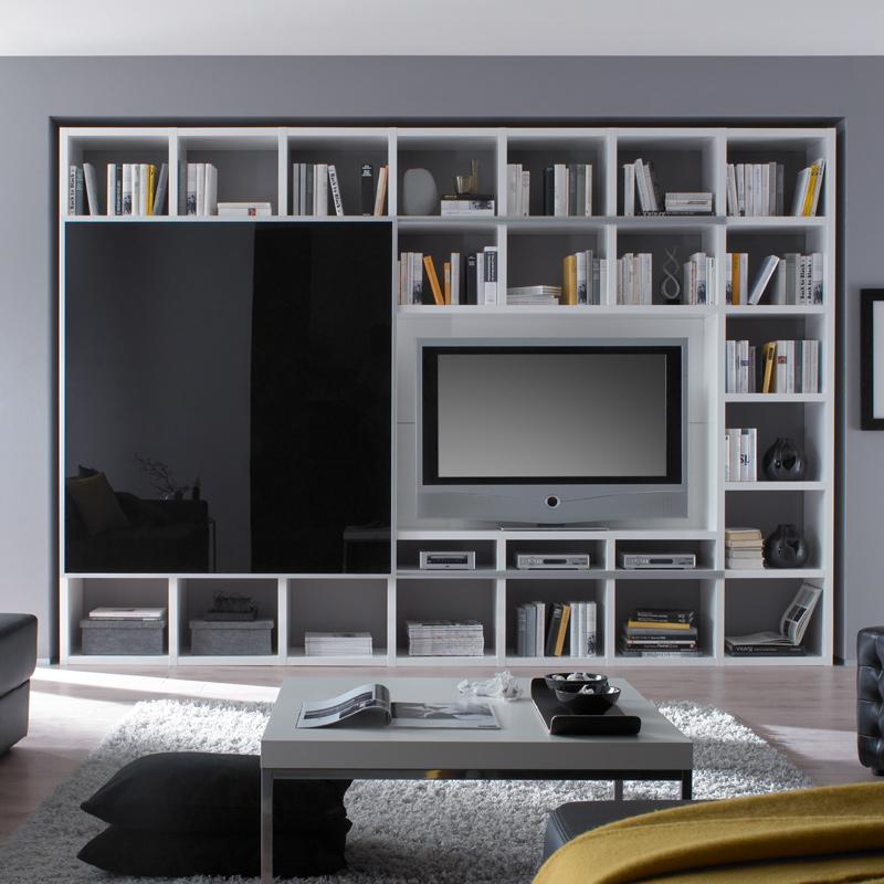 wohnzimmer wohnwand hochglanz wei schiebet r anbauwand tv lcd fernsehschrank ebay. Black Bedroom Furniture Sets. Home Design Ideas