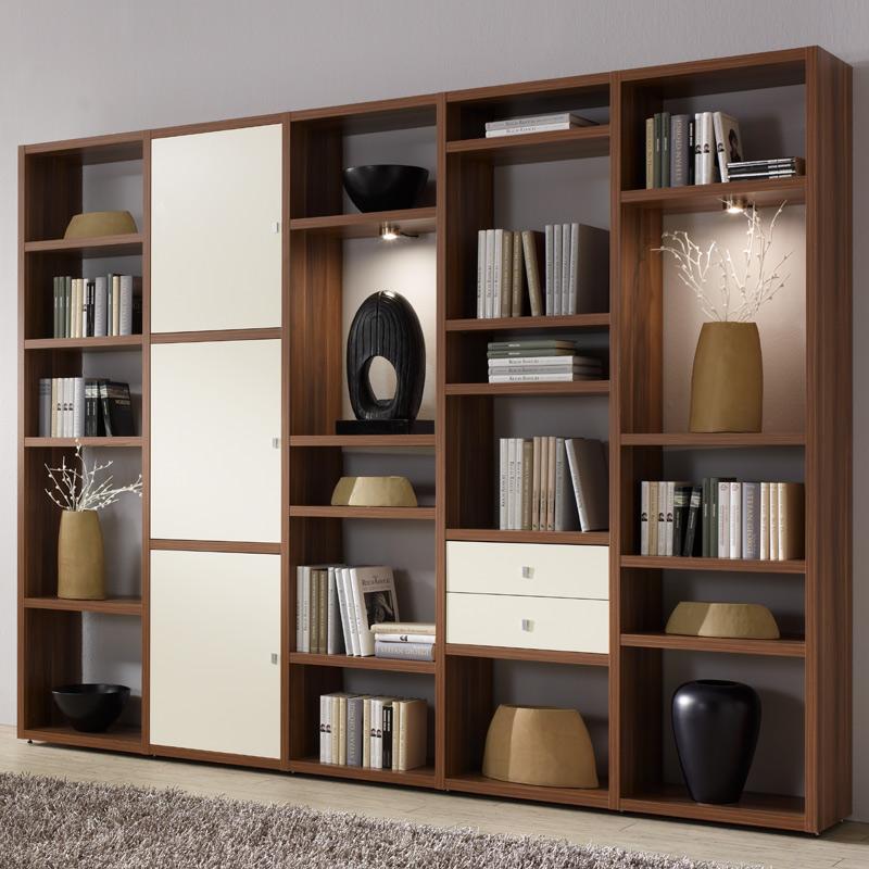 wohnwand wohnzimmer walnuss lack wei anbauwand cd dvd b cherregal hochregal ebay. Black Bedroom Furniture Sets. Home Design Ideas