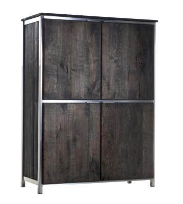 design vintage kleiderschrank eiche edelstahl neu ebay. Black Bedroom Furniture Sets. Home Design Ideas