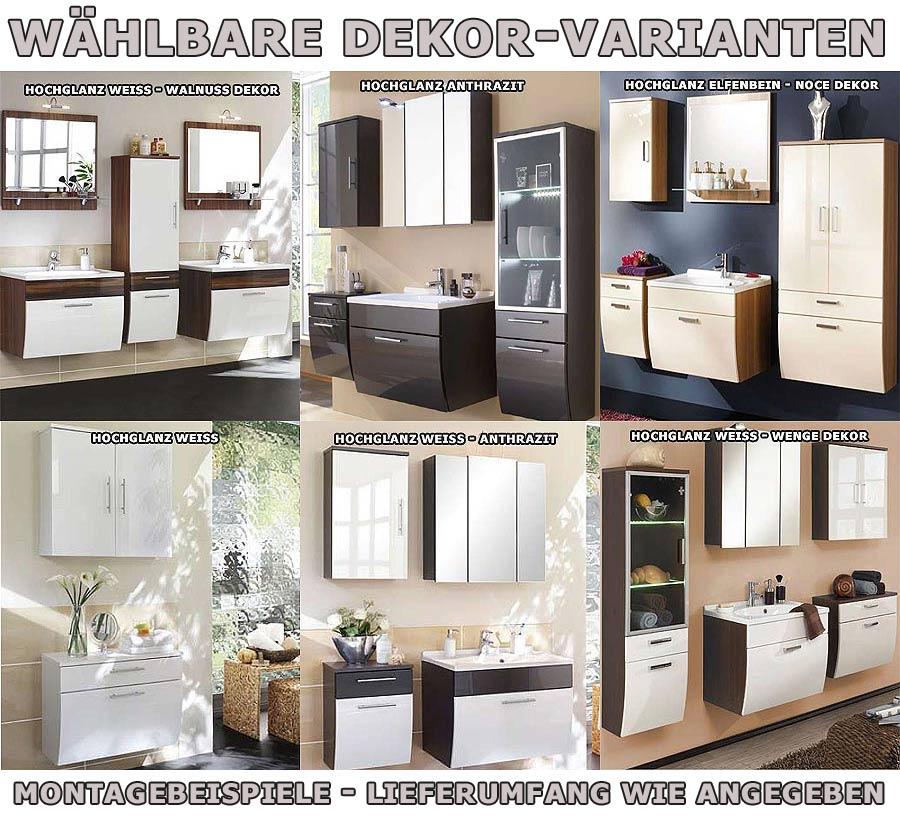 bad badschrank hochschrank h ngend hochglanz 6 dekore ebay. Black Bedroom Furniture Sets. Home Design Ideas