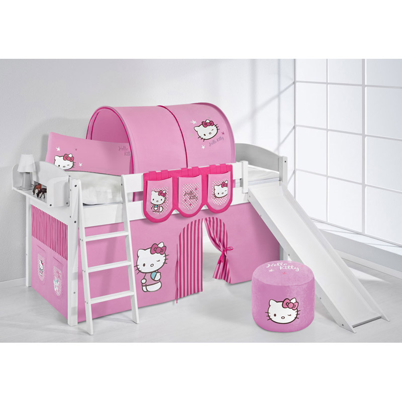 spielbett set massiv hello kitty rosa rutsche etagenbett. Black Bedroom Furniture Sets. Home Design Ideas