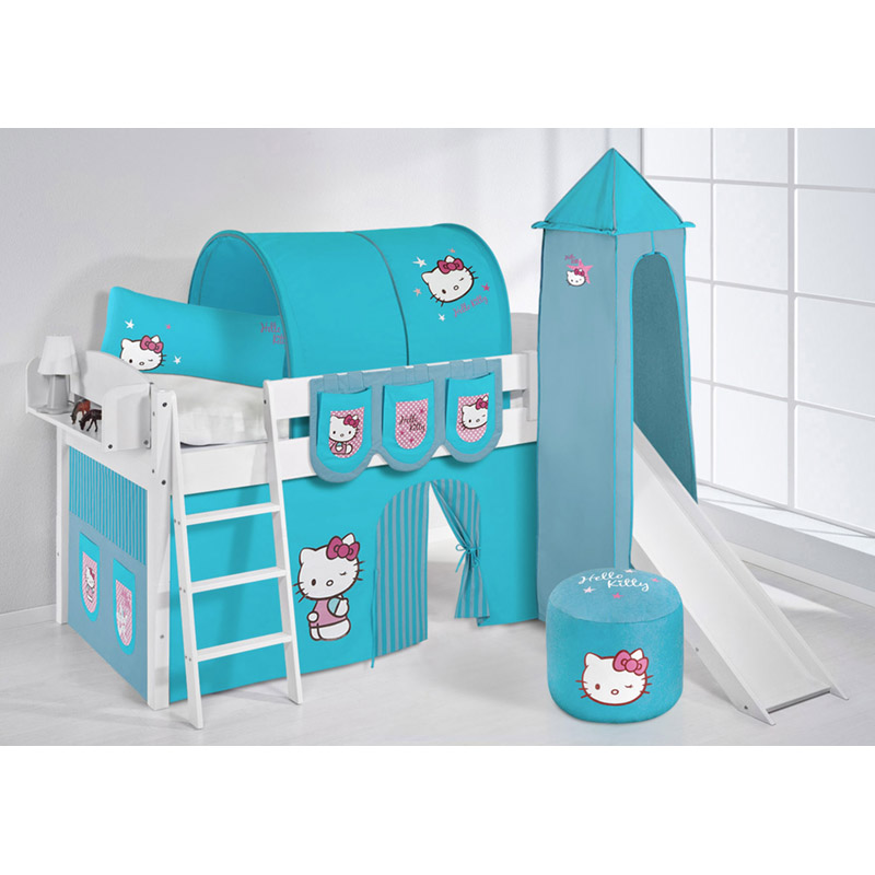 spielbett set massiv hello kitty t rkis rutsche hochbett. Black Bedroom Furniture Sets. Home Design Ideas