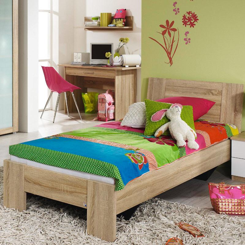 jugendbett 90 100 120 140x200cm eiche sonoma jugendzimmer futonbett kinderbett ebay. Black Bedroom Furniture Sets. Home Design Ideas