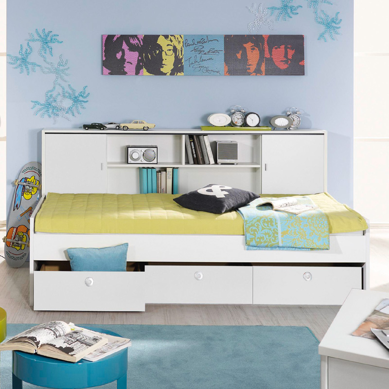 jugendbett wei funktionsbett schubkasten jugendzimmer kinderzimmer bettkasten ebay. Black Bedroom Furniture Sets. Home Design Ideas