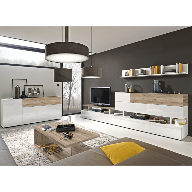 Wohnwand sideboard set artem hochglanz wei eiche tv for Wohnwand 150 cm