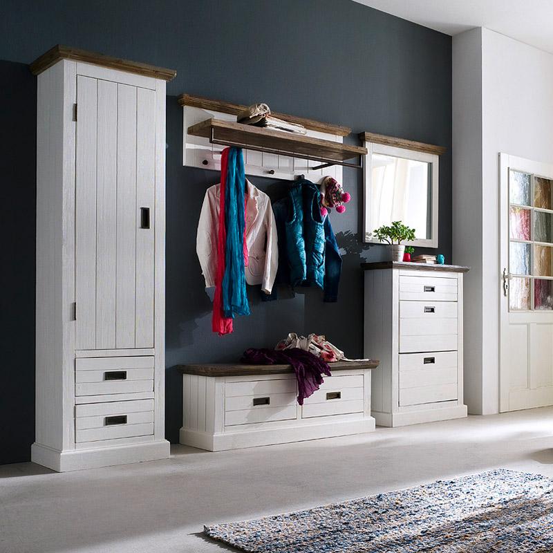 landhaus garderobenbank massiv wei flurbank dielenbank diele garderobe bank ebay. Black Bedroom Furniture Sets. Home Design Ideas