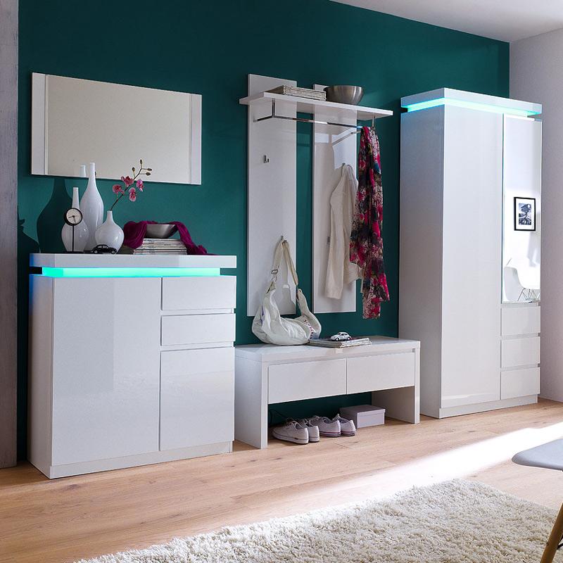 garderoben set hochglanz wei kleiderschrank schuhschrank garderobe diele flur. Black Bedroom Furniture Sets. Home Design Ideas